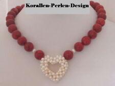 Korallen Kette Collier Halskette Süßwasserperlen Herz weiß rote Kugeln Damen Neu