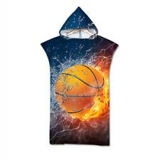 Novelty Gift Basketball Fire Flame Hooded Surfing Swim Bath Beach Towel Poncho