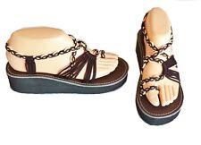 Confortables/mode SANDALES cordes marines talon/semelles crème/marron