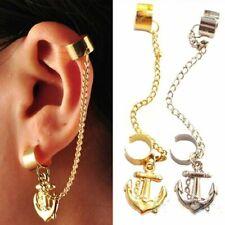 ANCHOR hanging Womens Ear Cuff Earrings Wrap Fashion Clip On Cuffs Fake Stud UK