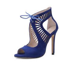 Sandali eleganti tacco stiletto 11 cm blu simil pelle eleganti 9785