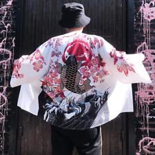 Mens Kimono Cardigan Japanese Loose Fashion Jacket Yukata Coat Ukiyoe Baggy Tops