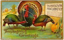 POSTCARD U.S. 1910 THANKSGIVING TURKEYS CHROMO EMBOSSED