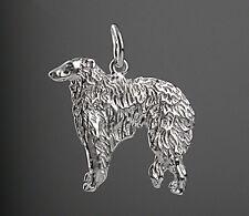 Pendentif Chien LEVRIER  BARZOI -  Pendant BARZOI  DOG  - Argent Massif 925/1000