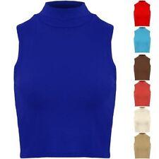 Mujer Alto Polo Cuello Elástico Sin Mangas Liso Camiseta Top Corto 8 10 12 14