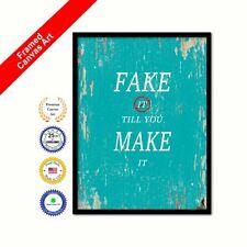 Fake It Till You Make It Framed Canvas Aqua Quote Housewarming Office Wall Art