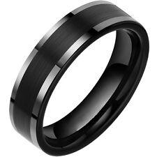 Tungsten Carbide Black Men Brushed Center 8MM Wedding Band Engagement Ring SR102