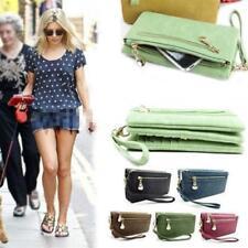 Womens Wallet Long PU Leather Double Zipper Handbag Clutch Purse w/ Wristlet LJ