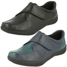 femmes K by Clarks cuir noir coupe large Babies riptape chaussures plates Etna ERploRiAuS
