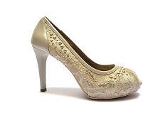 Nero Giardini scarpe spuntate da donna in pelle e raso col. Sabbia tacco cm.9
