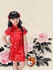 Chinese Oriental Childrens Girls Flower Red Satin Qipao Cheongsam Dress gcd7