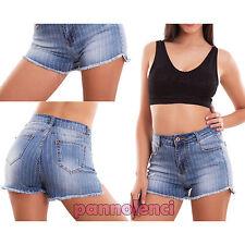 Pantaloncini donna jeans shorts vita alta gessati righe hot pant nuovi E1124