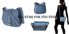 Michael Kors Womens Bag Maxine Leather Large Saddle Bag Denim/Blue WAS $359