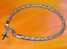 Ladies 3mm Beige leather & sterling silver Cross charm bracelet by Lyme Bay Art.