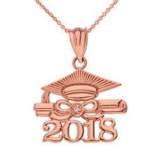 10k Rose Gold Diamond Class of 2018 Cap & Diploma Graduation Pendant Necklace