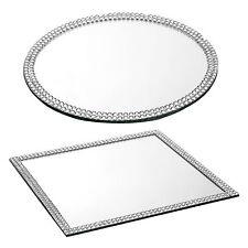 Glass Mirror Plates Table Decoration Centrepiece Base Sparkle Bead Edged Wedding