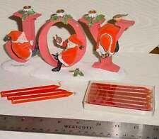 Marjolein Bastin Birds Santas JOY Christmas Candleholder Hallmark