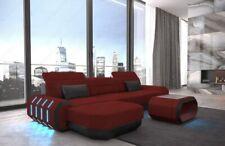 Fabric Upholstered Sofa Design Corner Couch Roma L Recamiere USB Led Lighting