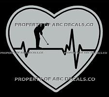 VRS Heartbeat Heart Golf Golfer Putt Putter Putting Green Male CAR VINYL DECAL