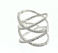 14 karat white Gold Vermeil Over Sterling silver Ring.925 Double X Designer Band