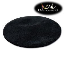 """incroyable doux & épais Tapis POILU cercle """" MICRO """" polyester noir haute"""