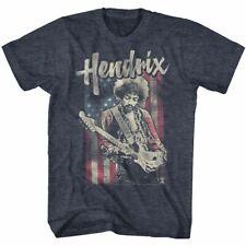 Jimi Hendrix Flag Navy Heather Adult T-Shirt