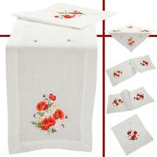 Roter Klatschmohn Frühling Stickerei Tischdecke Tischläufer Weiß
