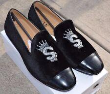 Suede Black Velvet Loafers Slippers Silver Embroidered Emblem Dress Driver
