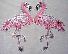 GRAND ÉCUSSON PATCH Brodé thermocollant - FLAMANT ROSE OISEAU ** 10 x 14 cm **