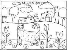 RUG HOOK CRAFT PAPER PATTERN Cat Landscape FOLK ART PRIMITIVE Karla Gerard