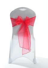 100 Rouge Scintillant Housse De Chaise Organza Papillon De Ceinture vente