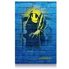 Grin Reaper Banksy, Poster oder Leinwand Bild auf Keilrahmen, Smiley Sensenmann