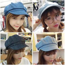 Women Ladies Denim Newsboy Gatsby Cap Octagonal Baker Peaked Beret Driving Hat
