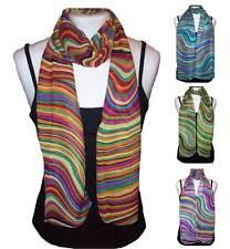 Ladies Multi-coloured Retro Chiffon Scarf - 4 Colours