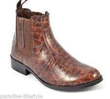 Para Mujer Damas Cuero Chelsea Botas Cowboy tirar-en impresión Biker Zapatos Talla Diseño
