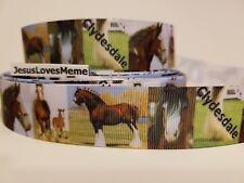 "Grosgrain Ribbon Clydesdale Horses Gentle Giants Draft Horse Farm Work Equine 1"""