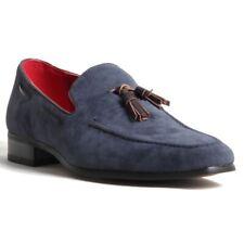 Para hombres Cuero Gamuza antideslizante en mocasines zapatos taco forrado occidental ante azul