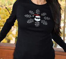 Christmas Snowflake Santa  rhinestone bling shirt XS S M L XL XXL 1X 2X 3X 4X 5X