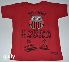 T-SHIRT MILAN da 0 a 8 anni maglia maglietta frase spiritosa bambino mesi rosso