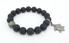 Black Onyx Stone & Diamond Pave Sterling Silver Charm Bead Bracelet
