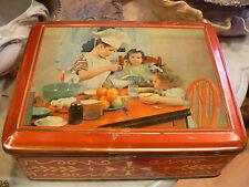 ancienne boite a biscuits en tole epoque 1950 gouter d' enfants