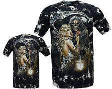 Grim reaper avec blond Girl Glow dans Dark Tattoo tye dye T-Chemise M-XL