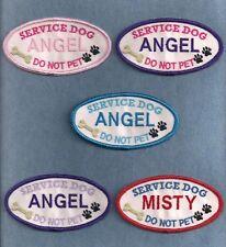 "SD DO NOT PET PERSONALIZED -  2""h x 4""w oval -- service dog vest patch --"
