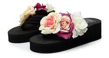 Sandali ciabatte donna infradito nero fiori zeppa 5.5 cm mare comodi 9283