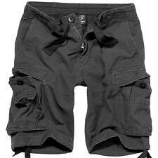 Brandit Vintage Clásico Combate Hombres Carga Pantalones Cortos Camping Negro