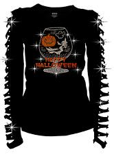 Happy Halloween Rhinestone T-Shirt Pumpkin Witch GLASS Ripped Cut Out S~4XL Ln