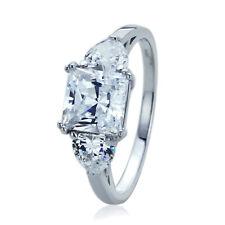 Women 8mm 14K White Gold 2ct Princess CZ Side Heart CZ 3 Stone Wedding Ring