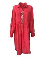 ROBERTA GUERCINI abito donna fragola con applicazioni 100% lino MADE IN ITALY