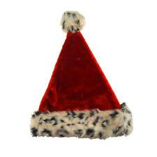 Red Felt Santa Hat With Leopard Fur Trim, 17-Inch