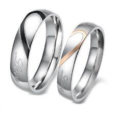 Fedi nuziali ACCIAIO INOX ANELLO DI FIDANZAMENTO PARTNER matrimonio CUORE